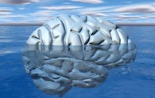 Hersenen die deels boven het water uitsteken en deels eronder verdwijnen