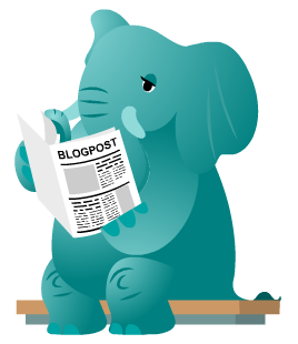 Olifant die de blogposts aan het lezen is