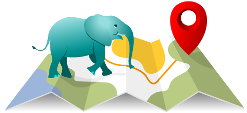 Olifant wandelt op locatie kaart